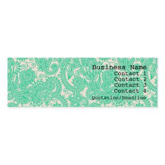 水のペイズリーパターンモダンで細い名刺 スキニー名刺