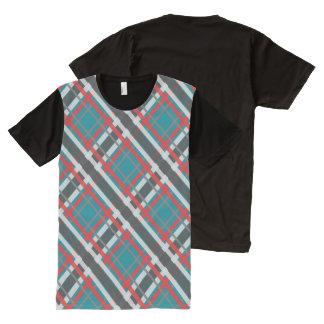 水のマクロ格子縞の~の赤、白及び灰色 オールオーバープリントT シャツ