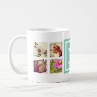 水のモノグラムのInstagramの写真のコラージュのマグ コーヒーマグカップ
