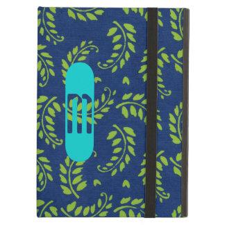 水のモノグラムのiPadの場合が付いている青い葉で緑化して下さい iPad Airケース