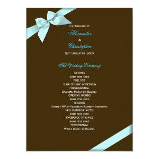 水のリボンの結婚式プログラム カード