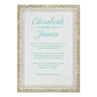 水のヴィンテージのバーラップの結婚式招待状 カード