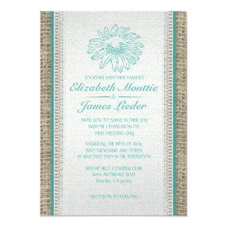 水のヴィンテージのレースの結婚式招待状 カード