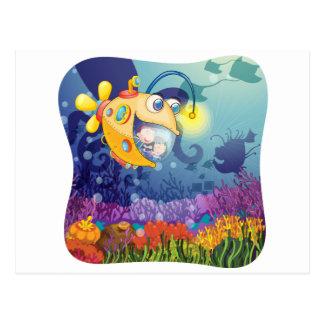 水の下の潜水艦の子供 ポストカード