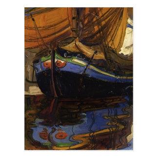 水の反射のエゴンのSchiele航行のボート ポストカード
