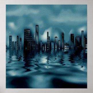 水の反射の暗い青の都市景観 ポスター