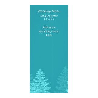 水の小ぎれいな木の冬の結婚式メニューカード カード