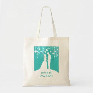 水の新郎新婦の結婚式のシルエット トートバッグ
