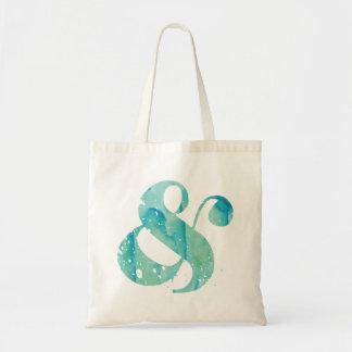 水の水彩画のアンパーサンド トートバッグ