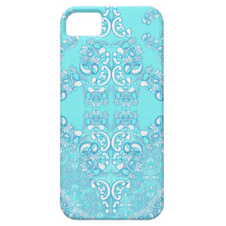 水の海の青くエレガントでモダンなダマスク織パターン iPhone SE/5/5s ケース