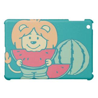 水の漫画のライオンはスイカを食べます iPad MINI カバー