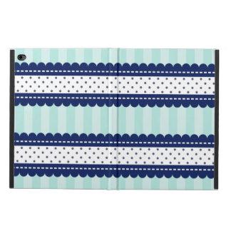 水の濃紺のストライプおよび水玉模様パターン POWIS iPad AIR 2 ケース
