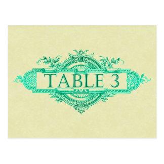 水の白熱ヴィンテージの結婚披露宴のテーブル数 ポストカード