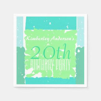 水の真新しい緑色の第20誕生日の紙ナプキン スタンダードカクテルナプキン