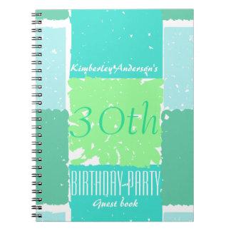 水の真新しい緑色の第30誕生日の来客名簿 ノートブック