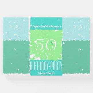 水の真新しい緑色の第50誕生日の来客名簿 ゲストブック