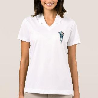 水の細い縦縞の十字に衰退して下さい ポロシャツ