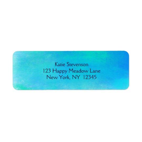 水の緑および青のかわいらしい水彩画の抽象芸術 返信用宛名ラベル