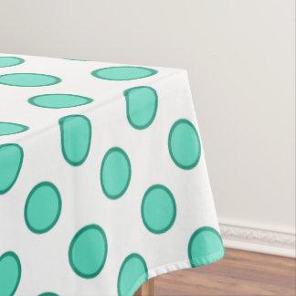 水の緑の白い円の点のテーブルクロス テーブルクロス