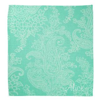 水の緑の花のペイズリーのダマスク織 バンダナ
