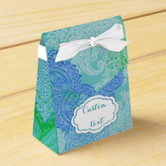 水の花のペイズリーパターンかわいいリボン フェイバーボックス