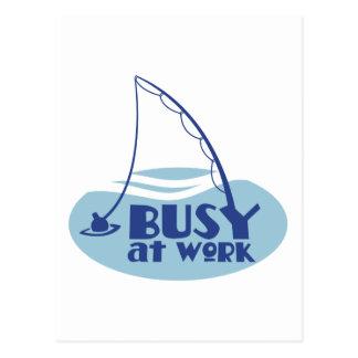 水の釣ざおを使用で忙しい ポストカード