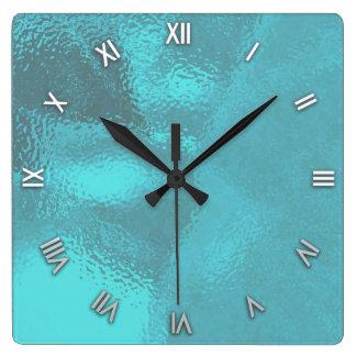 水の青いガラス一見の柱時計 スクエア壁時計