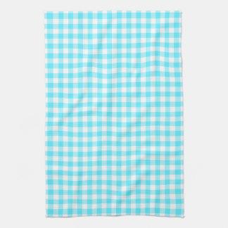水の青いギンガムパターン台所タオル キッチンタオル