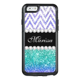 水の青いグリッターのプリント紫色のグラデーションで白いシェブロン オッターボックスiPhone 6/6Sケース