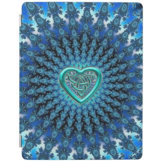 水の青いケルト族のハートの結び目のフラクタルの曼荼羅のiPad iPadスマートカバー