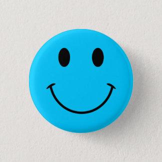 水の青いスマイリーフェイスボタン 3.2CM 丸型バッジ