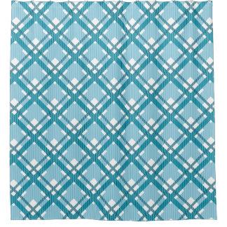 水の青いタータンチェック格子縞パターン シャワーカーテン