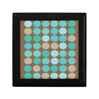 水の青いティール(緑がかった色)及びブラウンの点のモダンな宝石箱 ギフトボックス
