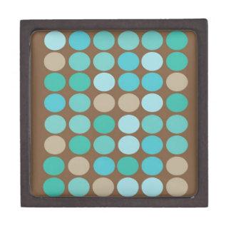 水の青いティール(緑がかった色)及びブラウンの点のモダンパターン ギフトボックス