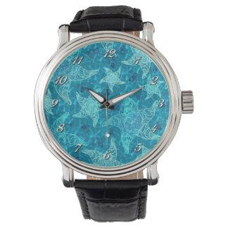 水の青いヒトデパターン腕時計 腕時計
