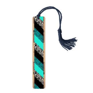 水の青いヒョウおよびシマウマのアニマルプリント ブックマーク