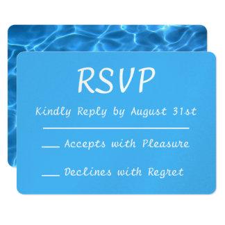水の青いプールの写真RSVP カード