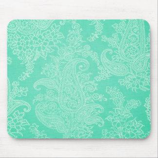 水の青いペイズリーの木の花の布パターン マウスパッド