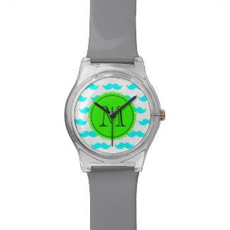 水の青い髭パターン、緑の黒いモノグラム 腕時計