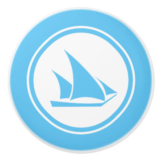 水の青いKetchのボートの航海のな陶磁器のノブ セラミックノブ