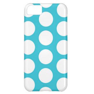 水の青く白い水玉模様のiPhone 5の箱 iPhone5Cケース