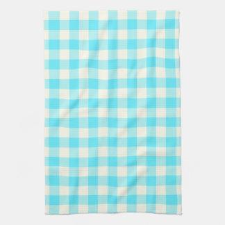 水の青のギンガムパターン台所タオル キッチンタオル