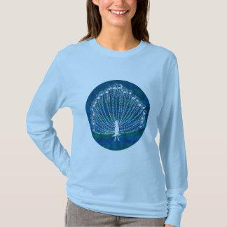 水の青の円の孔雀のイラストレーション Tシャツ