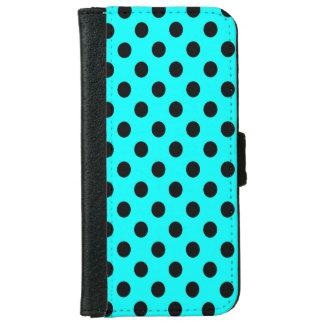 水の青の水玉模様の黒 iPhone 6/6S ウォレットケース