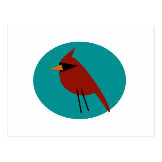 水の青の赤い(鳥)ショウジョウコウカンチョウ ポストカード