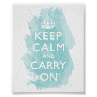 水の青のKeep Calm and Carry On ポスター