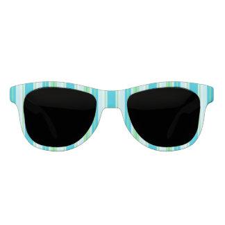 水の青、緑および白のストライプ サングラス