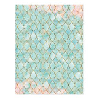 水のMaroccan淡いピンクおよびパターン ポストカード