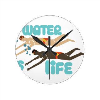 水は生命です ラウンド壁時計