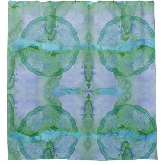 水を含んだ世界の曼荼羅パターン シャワーカーテン